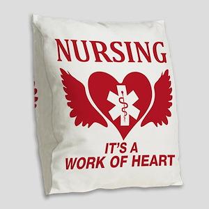 Nursing It's A Work Of Heart Burlap Throw Pillow