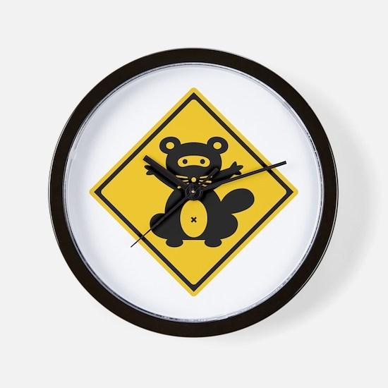 Warning Racoon 2, Japan Wall Clock
