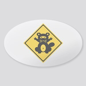 Warning Racoon 2, Japan Sticker (Oval)