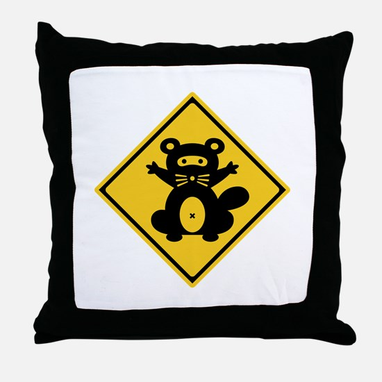 Warning Racoon 2, Japan Throw Pillow