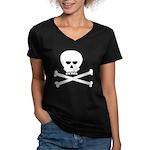 Jolly Pirate Women's V-Neck Dark T-Shirt