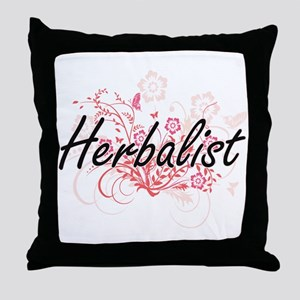 Herbalist Artistic Job Design with Fl Throw Pillow