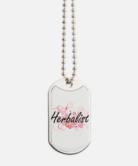 Herbalist Artistic Job Design with Flower Dog Tags