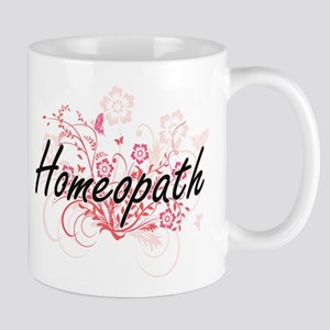 Homeopath Artistic Job Design with Flowers Mugs