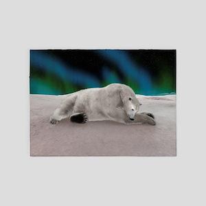 Polar Bear Resting 5'x7'Area Rug