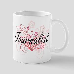 Journalist Artistic Job Design with Flowers Mugs