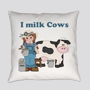 Dairy Cow Girl Everyday Pillow