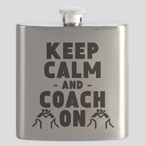 Keep Calm And Coach On Wrestling Flask