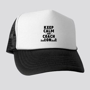 Keep Calm And Coach On Swimming Trucker Hat