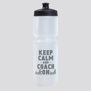 Keep Calm And Coach On Swimming Sports Bottle