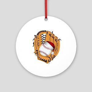 Christmas Baseball Round Ornament