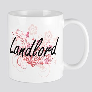 Landlord Artistic Job Design with Flowers Mugs
