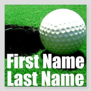 "Golfball Square Car Magnet 3"" x 3"""