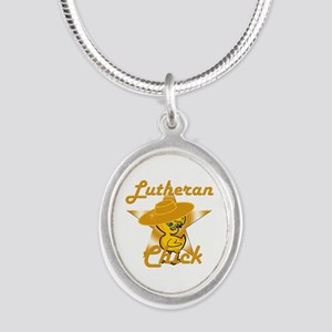 Lutheran Chick #10 Silver Oval Necklace