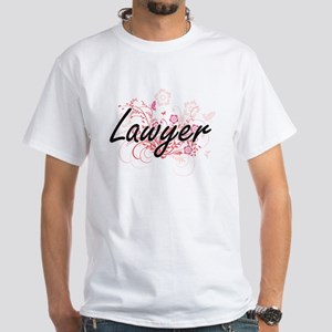 Lawyer Artistic Job Design with Flowers T-Shirt
