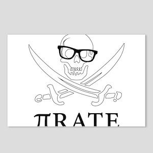 Pi - rate - Geek skull pi Postcards (Package of 8)