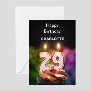 29th Birthday Add A Name Cupcake Greeting Cards