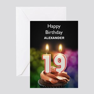 19th Birthday, Add A Name Cupcake Greeting Cards