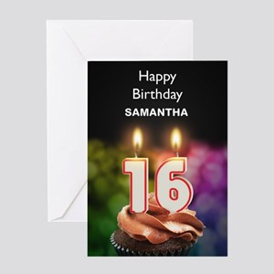 16th Birthday, Add A Name Cupcake Greeting Cards