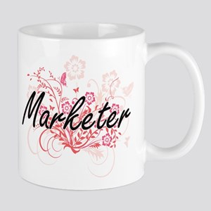 Marketer Artistic Job Design with Flowers Mugs