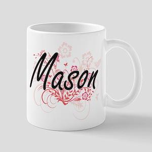 Mason Artistic Job Design with Flowers Mugs