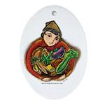 Harvest Girl Oval Ornament