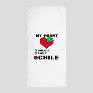 My Heart Friends, Family and Chile Beach Towel