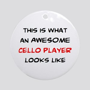 awesome cello player Round Ornament