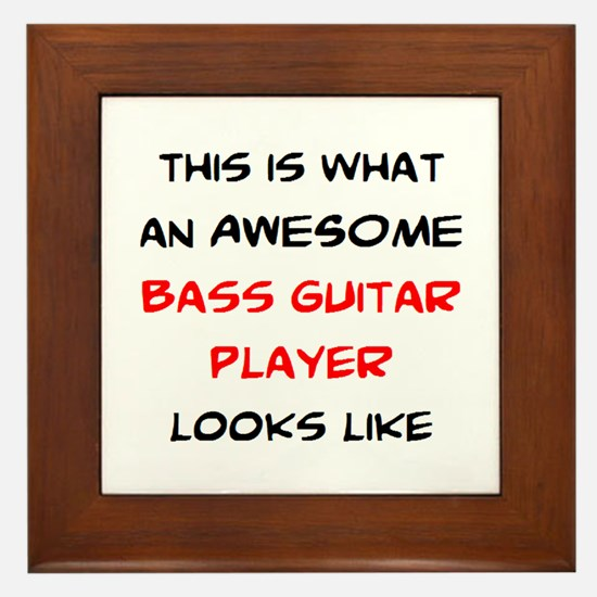 awesome bass guitar Framed Tile