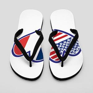 USA France Love Hearts Flip Flops