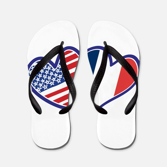 USA France Love Hearts Flip Flops