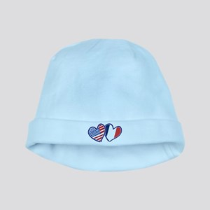 USA France Love Hearts baby hat