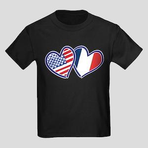 USA France Love Hearts T-Shirt