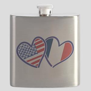 USA France Love Hearts Flask