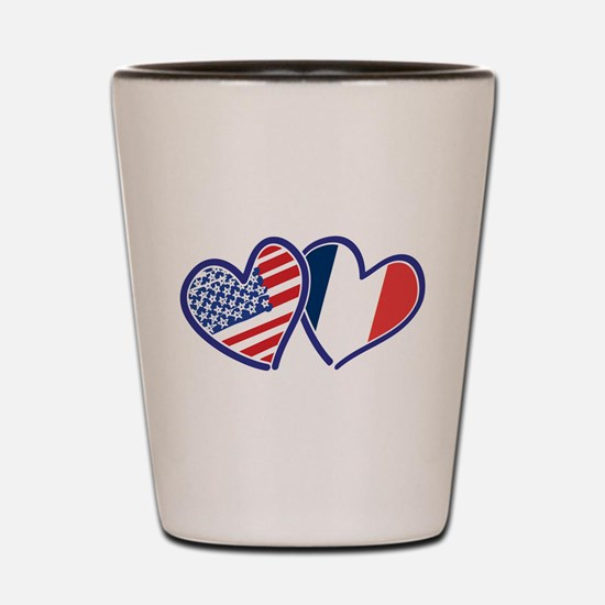 USA France Love Hearts Shot Glass