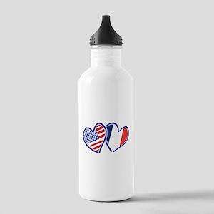 USA France Love Hearts Water Bottle