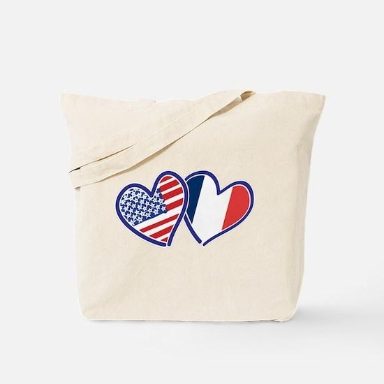USA France Love Hearts Tote Bag