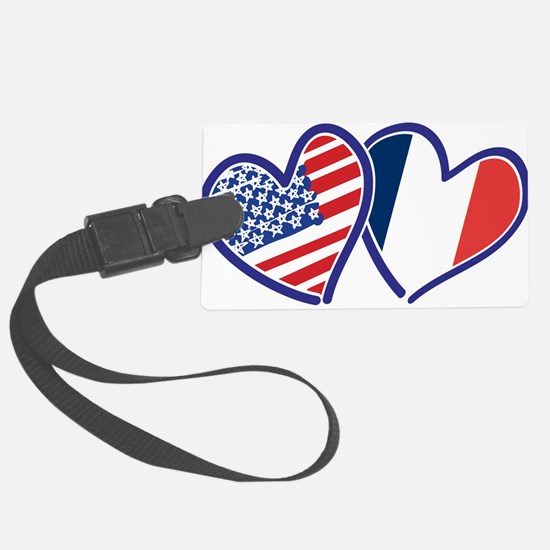 USA France Love Hearts Luggage Tag
