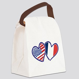 USA France Love Hearts Canvas Lunch Bag