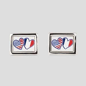 USA France Love Hearts Rectangular Cufflinks