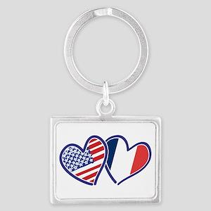 USA France Love Hearts Keychains