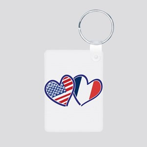 USA France Love Hearts Keychains