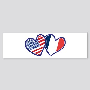 USA France Love Hearts Bumper Sticker