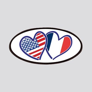 USA France Love Hearts Patch