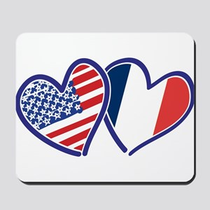 USA France Love Hearts Mousepad