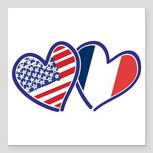 "USA France Love Hearts Square Car Magnet 3"" x 3"""
