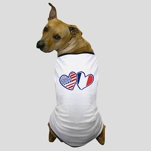 USA France Love Hearts Dog T-Shirt