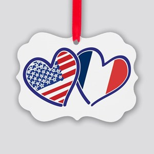 USA France Love Hearts Ornament