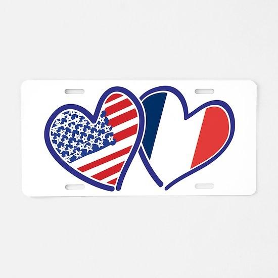 USA France Love Hearts Aluminum License Plate