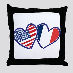 USA France Love Hearts Throw Pillow